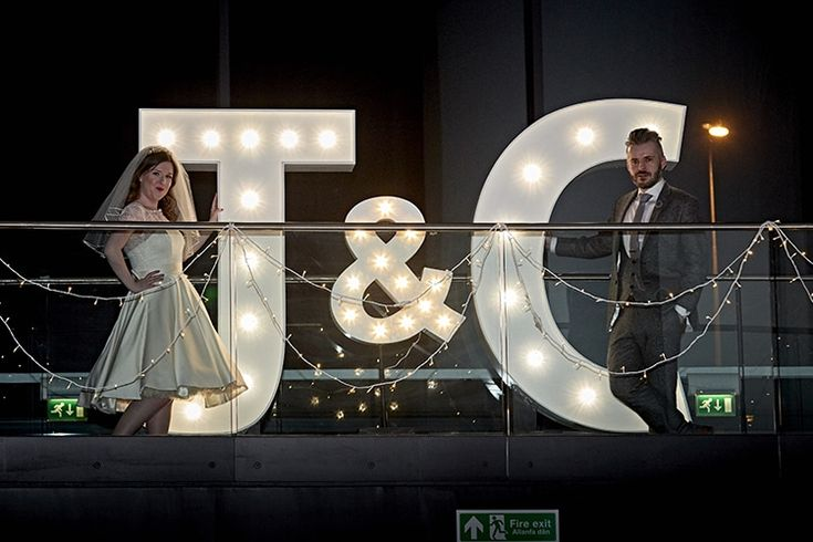 Letter Lights Modern Mint Gold Grey City Wedding http://www.studiocano.co.uk/