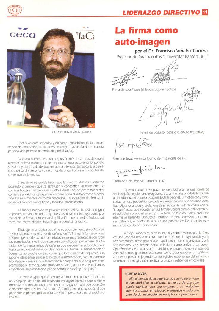 """""""La firma como auto-imagen"""" Formación y Asesoramiento en Ventas-Marketing y Liderazgo Directivo nº10, pág. 11,  Junio 1998, Alicante"""