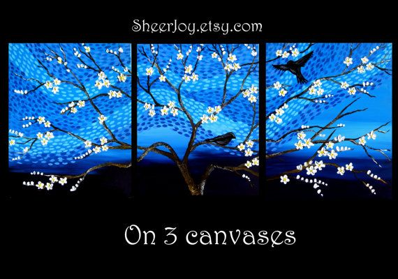 painting 3 canvases trees tree birdbirds triptych blue