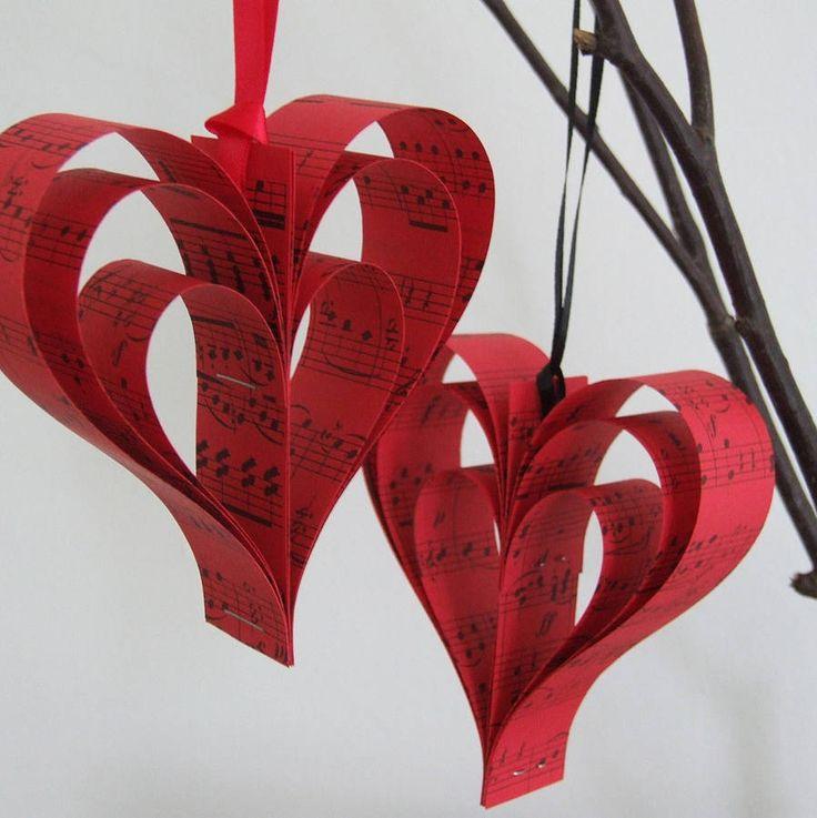 handmade red sheet music heart decoration by re:made | notonthehighstreet.com