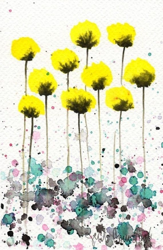 Yellow Flowers | Watercolor or Watercolour | Pinterest ...