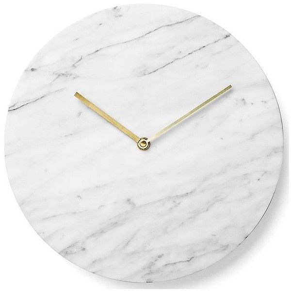 Menu Marble Wall Clock (6 400 UAH) ❤ liked on Polyvore featuring home, home decor, clocks, fillers, accessories, white, marble home decor, white wall clock, white home decor and white clock