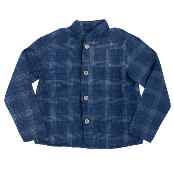 Mákvirág — Blue checked linen boy shirt