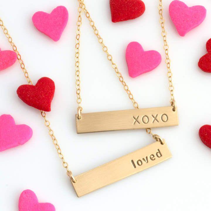 Etsy Valentine's Day Gift, Personalized Bar Necklace. #Valentinesdaygitt #barnamenecklace #valentinesday #etsy #perfectvalentinegift. *Aff*