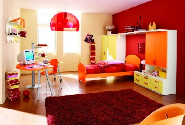 Big Modular Red Pendant Lamp Mixed With Orange Girl Bedroom Interiors On Laminate Floor Design