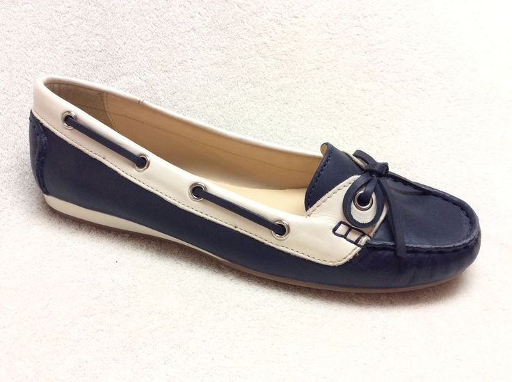 Cole Haan Leather Navy White Boat Shoes Loafers 8.5B | eBay
