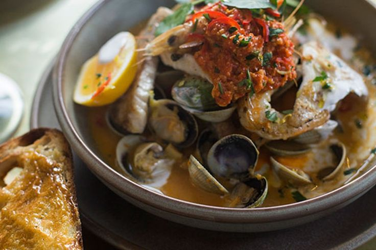 This recipe comes from Sarah Ginella and Nico Mendez and is the signature moqueca of their Euro-Latin bistro bar, Barulho, in Parnell. A moqueca is a Brazilian-style fish soup/stew with spices and coconut.