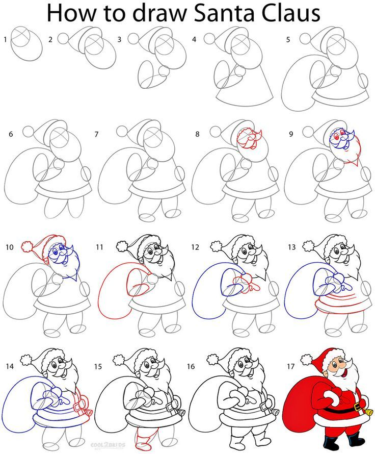Image Result For How To Draw Santa Claus Step By Step Doodles