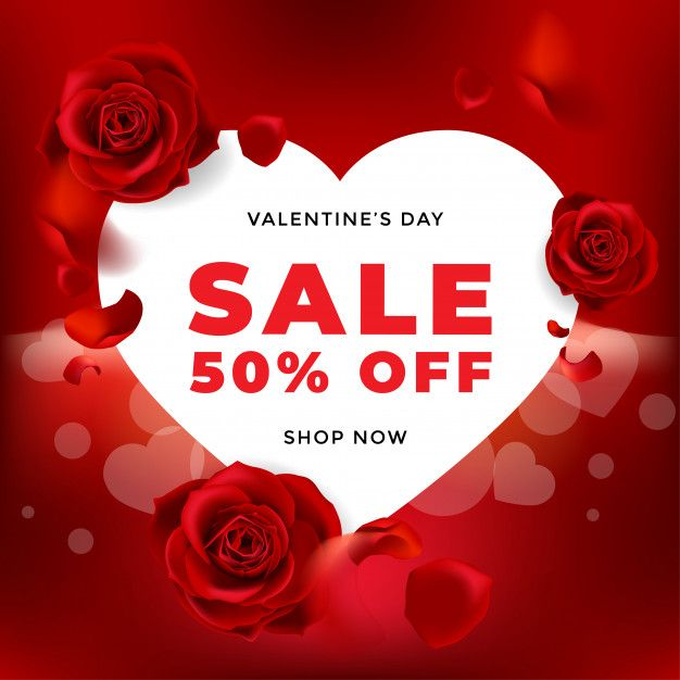 Valentines Day Sale Background With Flower Rose And Heart Premium