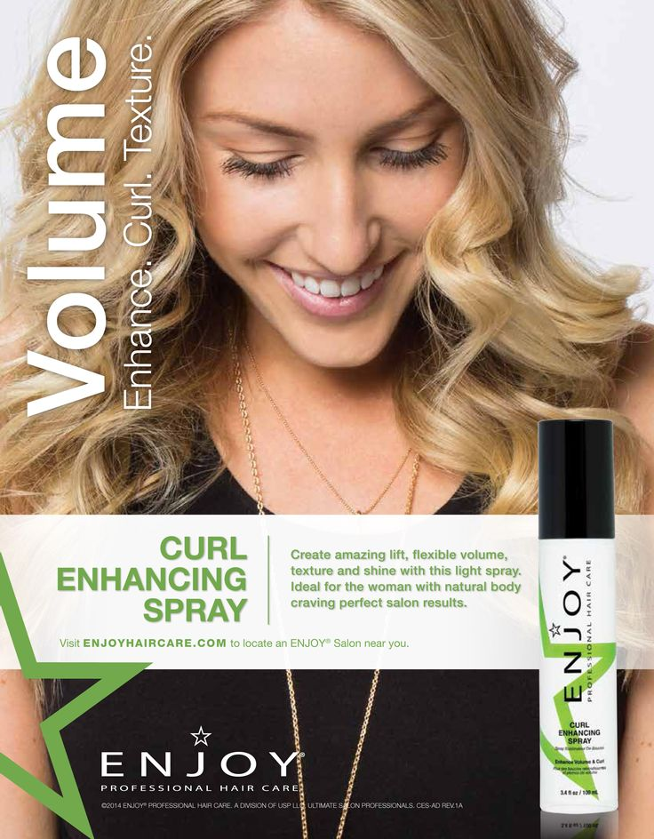 ENJOY Curl Enhancing Spray - create  amazing lift, flexible volume, texture, and shine with this light spray. Ideal for women with natural body, wave or curl.