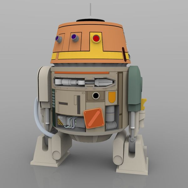 "A new, free, digital model: Chopper (C1-10P) from ""Star Wars: Rebels"". #3d #starwars #rebels #digital #model"