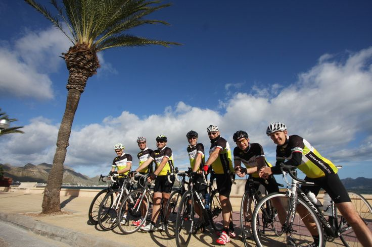 Great group ready to go. Cycling in Mallorca.