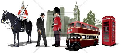 Symbols and landmarks of  London - Big Ben, Tower Bridge, english call box, double-decker and and beefeater, 52829, download royalty-free vector clipart (EPS)