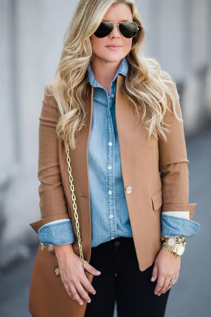 blazer and chambray shirt, fall outfit inspiration from the southern style guide