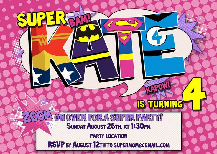 Personalized Super Girl Birthday Party Invitation