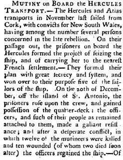 An account of the mutiny on the convict ship Hercules in 1802. Find out more about the voyage of the Hercules at Free Settler or Felon