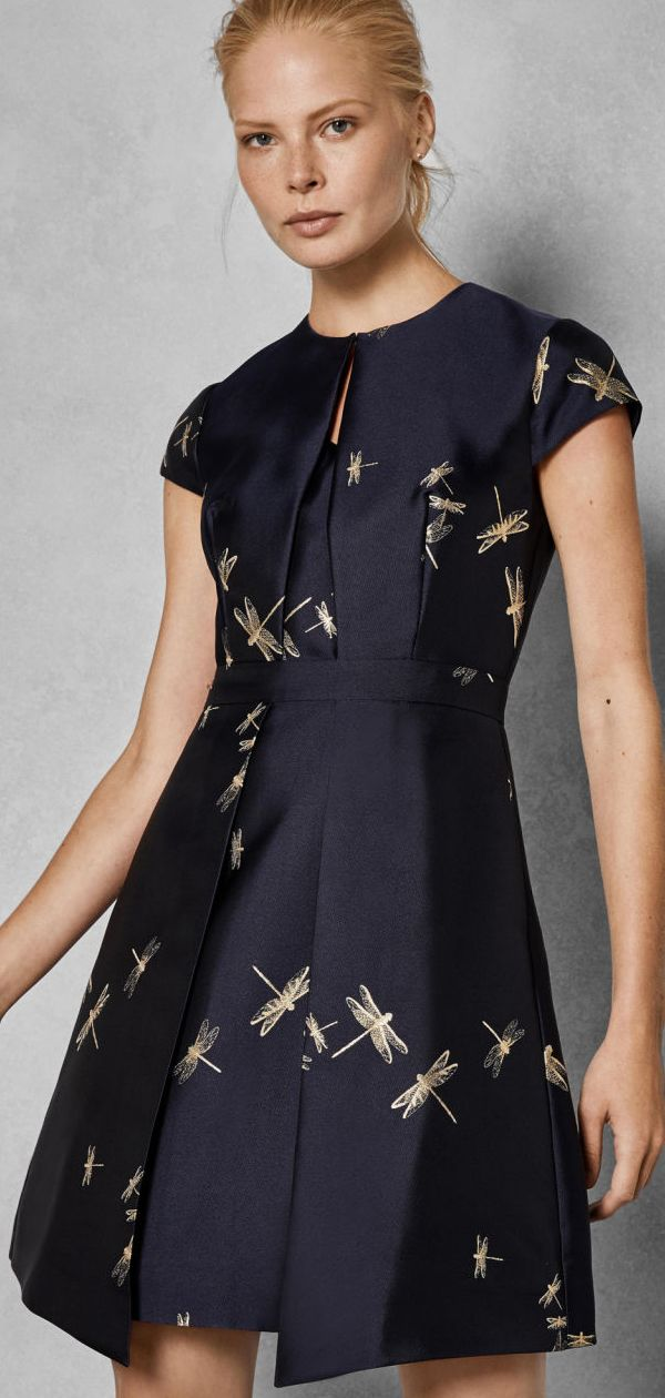 80496207c3c Dragonfly Pattern Fit and Flare Dress. Skater Dress. Jacquard Floral Dress.  Jacquard Dress