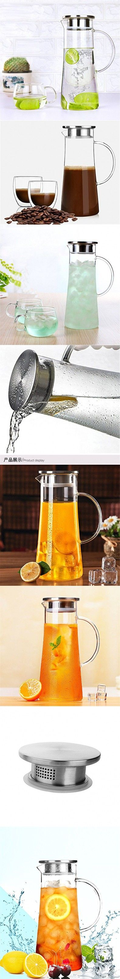 Luxtea Water Carafe Juice Infuser Borosilicate Bottle Glass Pitcher 1.5L/ 53 oz