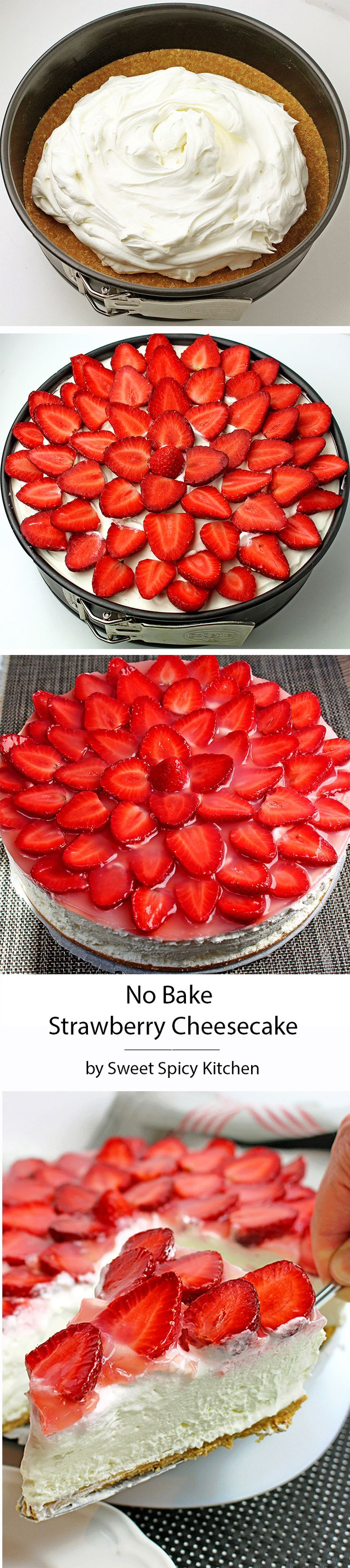 No Bake Strawberry Cheesecake recipe is a perfect homemade dessert rich with cream cheese, graham cracker crust and fresh & juicy strawberries. (Sweet Recipes Easy)