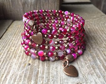 Flaming Hearts Agate Gemstone Copper Coil Memory Wire Wrap Bracelet