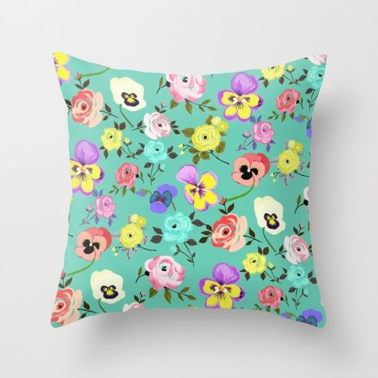 Roses and Pansies by Elisandra #pillow #society6 #art #painting #flower #floral #pattern #print #green #pansy #pansies