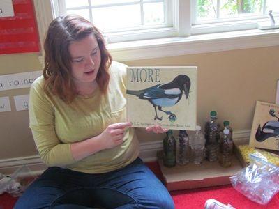 "Wonderful book called ""More"" about a bird and a nest...Math Center"