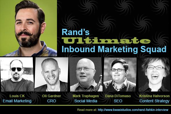 Rand Fishkin's Ultimate Inbound Marketing Squad:  as featured in How Authentic Wizardry Nudged Moz to the Top – Interview with Rand Fishkin http://www.kwasistudios.com/rand-fishkin-interview/
