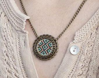 Hummingbird necklace Cross stitch necklace Cross by TriccotraShop