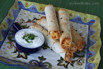 Baked Creamy Chicken Taquitos (Use flour tortillas not corn, trust me. And the cilantro-lime-ranch dipping sauce is the secret to making it the best food EVER.)