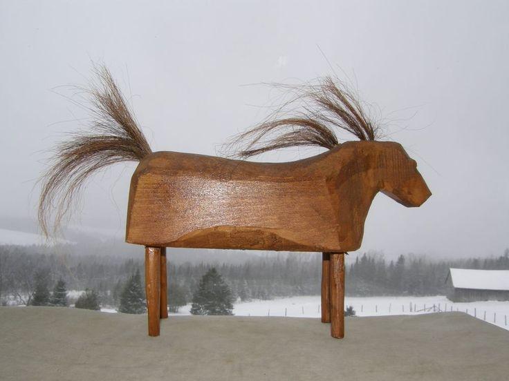 VINTAGE FOLK ART WOOD CARVED HORSE NAIVE PRIMITIVE HORSEHAIR #NaivePrimitive 65$