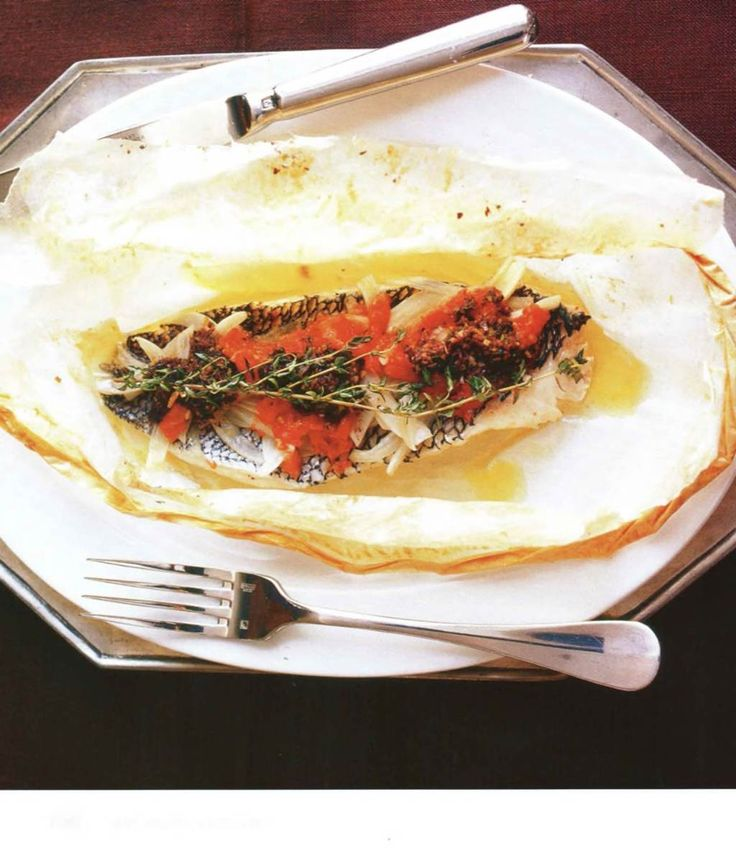 16 best images about cooking with parchment on pinterest for Bass fish cooking