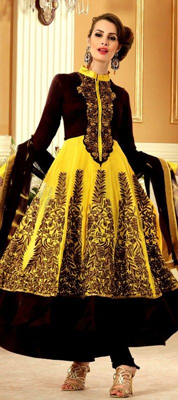 402589, Anarkali Suits, Georgette, Machine Embroidery, Resham, Patch, Zari, Yellow Color Family