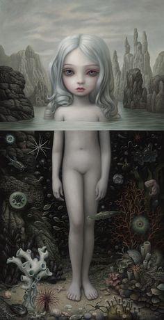 "Mark Ryden ""Aurora,"" 2015 oil on canvas 112 x 58 inches; 284.5 x 147.3 cm (PK 20937)"