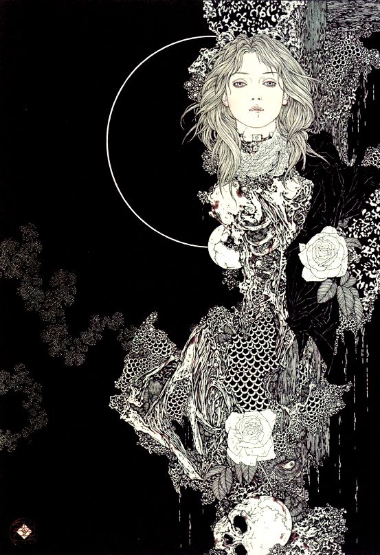 Takato Yamamoto (Japanese) - lithography and printing ink on paper in a traditional Japanese style. His first exhibition was held in Tokyo in 1998. (shades of Aubrey Beardsley methinks)