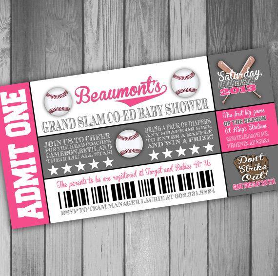 baseball baby shower invitation ticket baby shower invitation baseball invitation girl baby shower invitation coed baby shower invitation