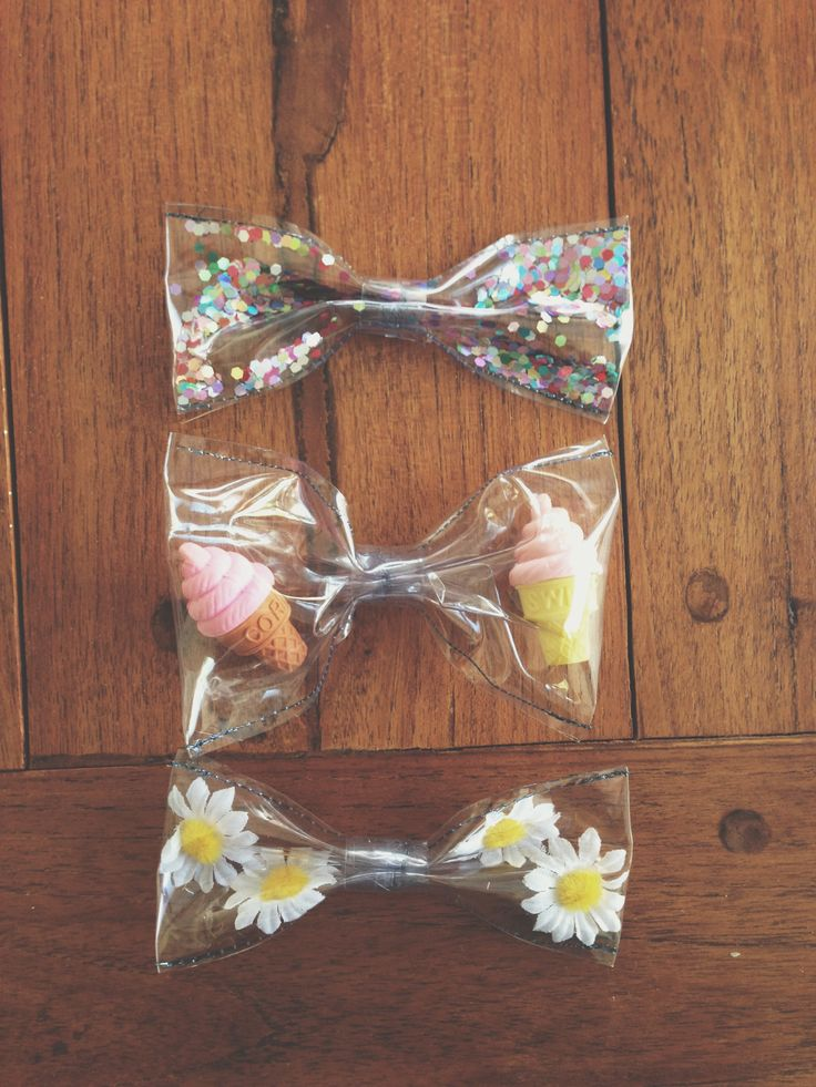 clear plastic & objects. experimental hair bows no. 01
