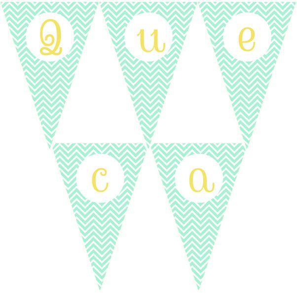 Imprimible gratis de banderines chevron mint con todas las letras en mayúsculas y minúsculas.