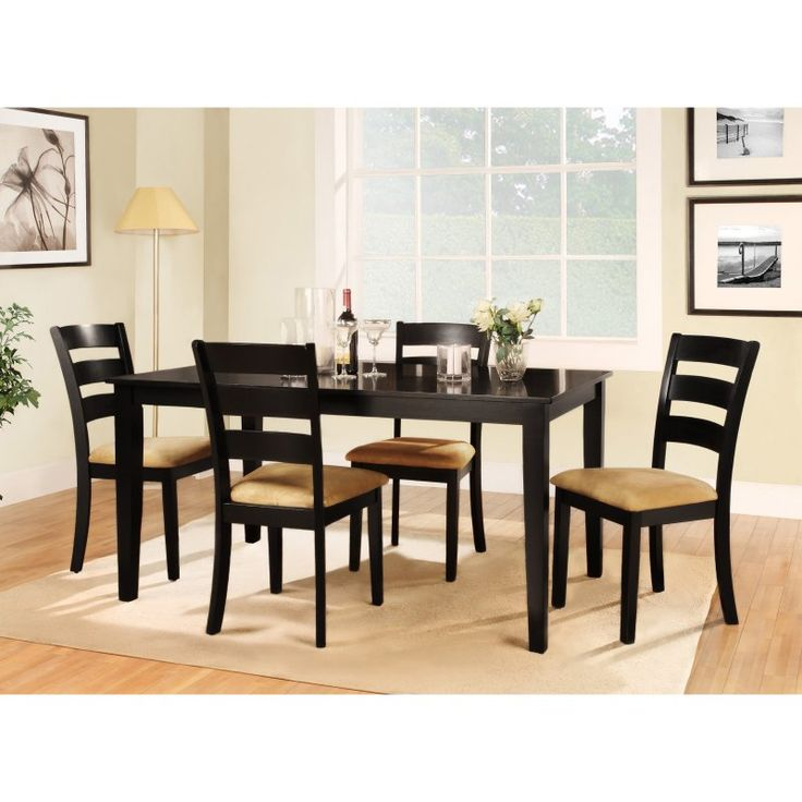 Homelegance Tibalt 5 Piece Rectangle Black Dining Table Set - 60 in. with Ladder Back Chairs - HME2074