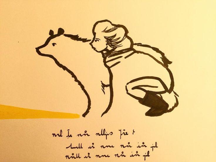 Waiting. Ink and brush. Ashya Lane-Spollen. #illustration #illustrator #art #artist #irishart #ireland #dublin #irish #arte #dessin #disegno #ink #draw #drawing #artblog #artblogger #artlife #bear #friends #friendship #companion #waiting #adventure #girl #woman #hero #story #animal #wild #together @sketch_dailies #baaxart #ashyalanespollen