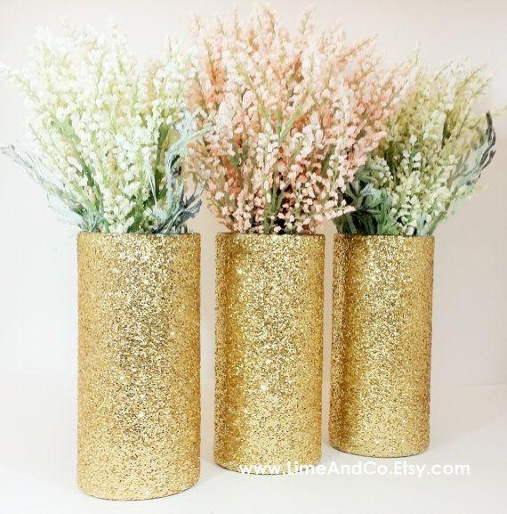 Hochzeitsmittelstück, Bridal Shower Dekorationen, Verlobungsfeier Dekorationen, Baby Shower Herzstück, Gold Hochzeit Dekor, Glitter, 3er Set
