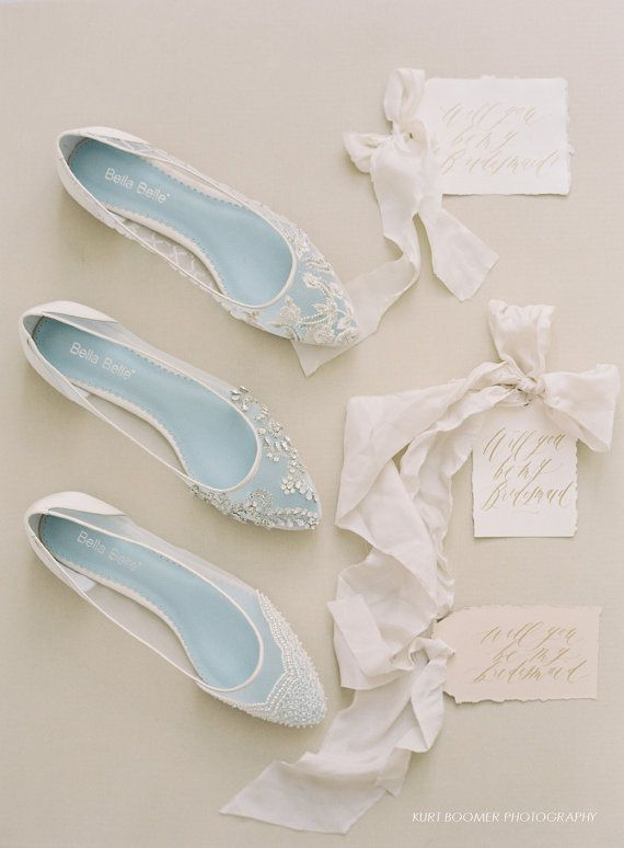 Pearl Wedding Flats with scallop Beading Bridal flats – wedding shoes with 'Something Blue' Bella Belle Hailey