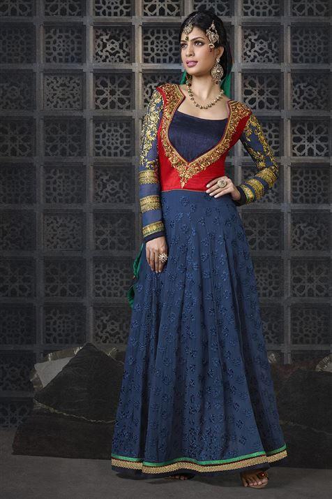 Designer Navy, Red Georgette, Velvet Floor Touch Anarkali Suit
