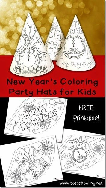 FREE New Year's Eve Hats for Kids to Color - these are super cute for toddler, preschool, kindergarten, 1st grade and 2nd grade for a kids new years eve party or new years eve activities for kids.