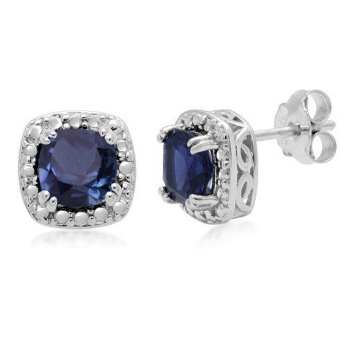 Sterling Silver Cushion-Cut Created Blue Sapphire Earrings -