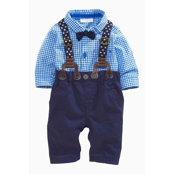 Four Piece Light Blue Braces And Bow Tie Set (0-18mths) ($23) ❤ liked on Polyvore featuring baby boy