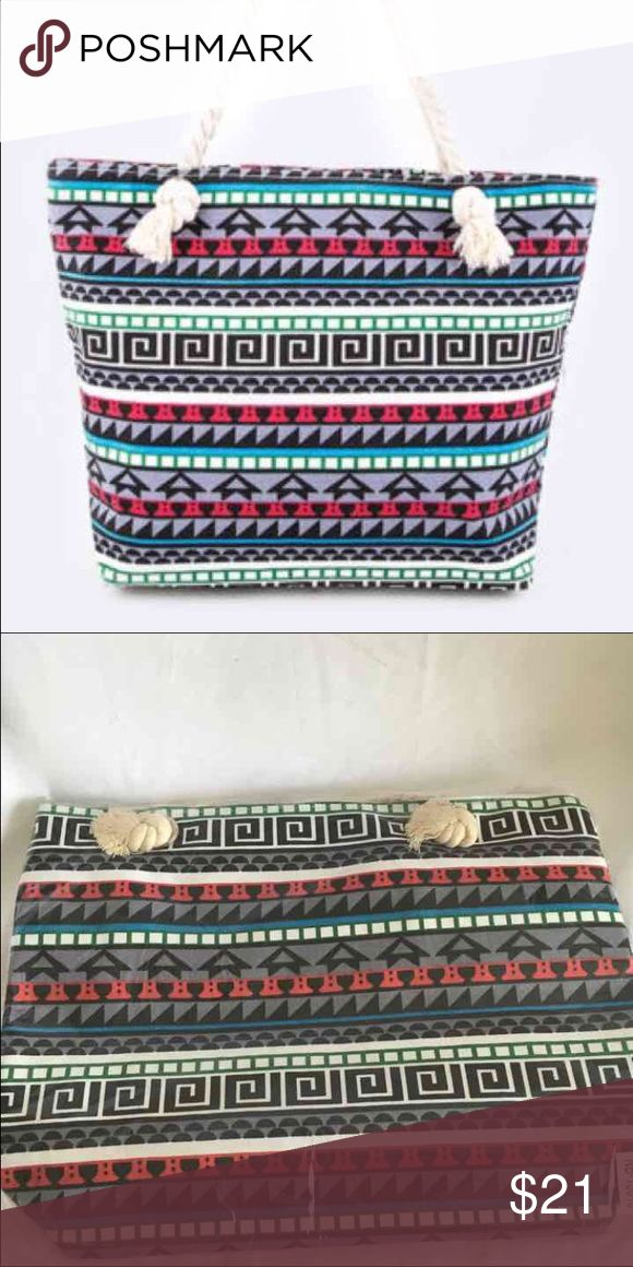Gray Multicolor Aztec Tote Beach Bag Beach tote bag zipper closure interior pocket waterproof inner lining 20 inches wide 14 inches tall 5 inches deep Bags Totes