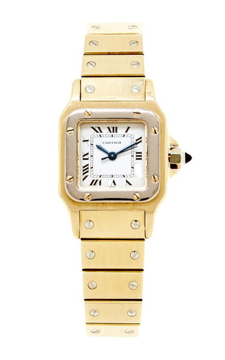 1980's Ladies 18K Yellow And White Gold Cartier Santos Watch With Automatic Movement From Camilla Dietz Bergeron by Camilla Dietz Bergeron, Ltd. for Preorder on Moda Operandi