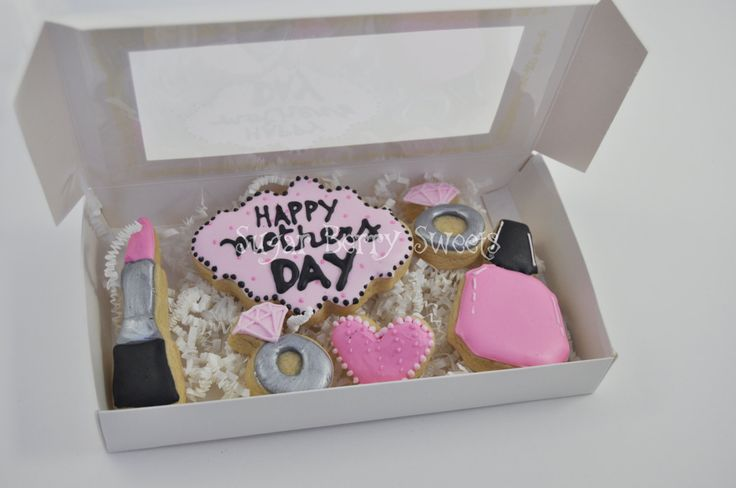 Mother's Day Sugar Cookies - 1/2 dozen Cute decorated sugar cookies -Happy - pink - nails - make-up - woman - perfect gift for her - love