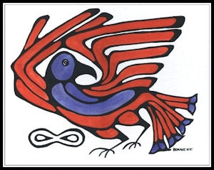 AMERICAN MÉTIS  This painting was designed to symbolize the Métis People across all of the original Métis Homeland, which included much of the US and CANADA. The Red and White and Blue of the Canadian and American Flags, and the Native Bird Symbol which acts as messenger to all that here began the Métis and here we continue to thrive.  by Métis Artist Bouvette