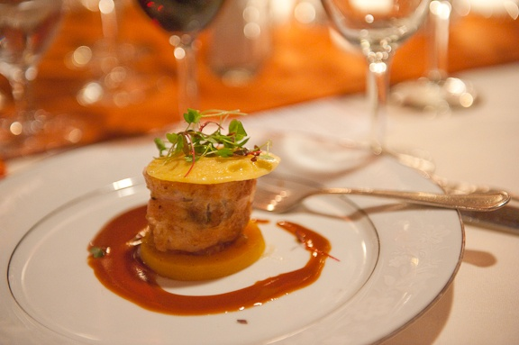 "Chicken ""En Crepinette"", Late Harvest Summer Truffles, Butternut Squash Raviolini, Foie Gras Emulsion"